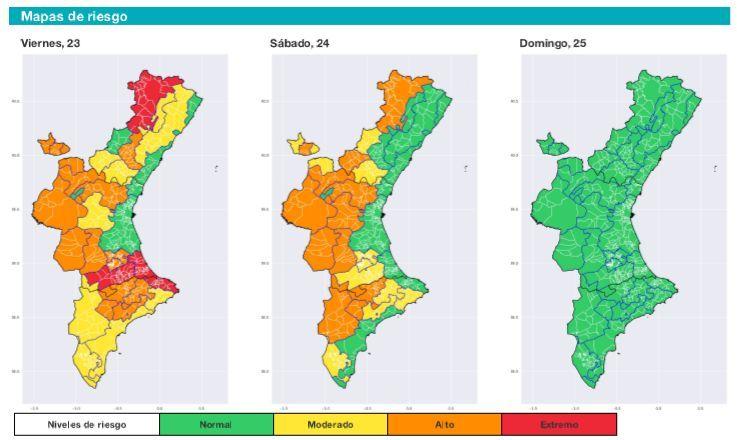 Niveles de riesgo por temperaturas en la Comunidad Valenciana según la Conselleria de Sanidad y Salud Pública