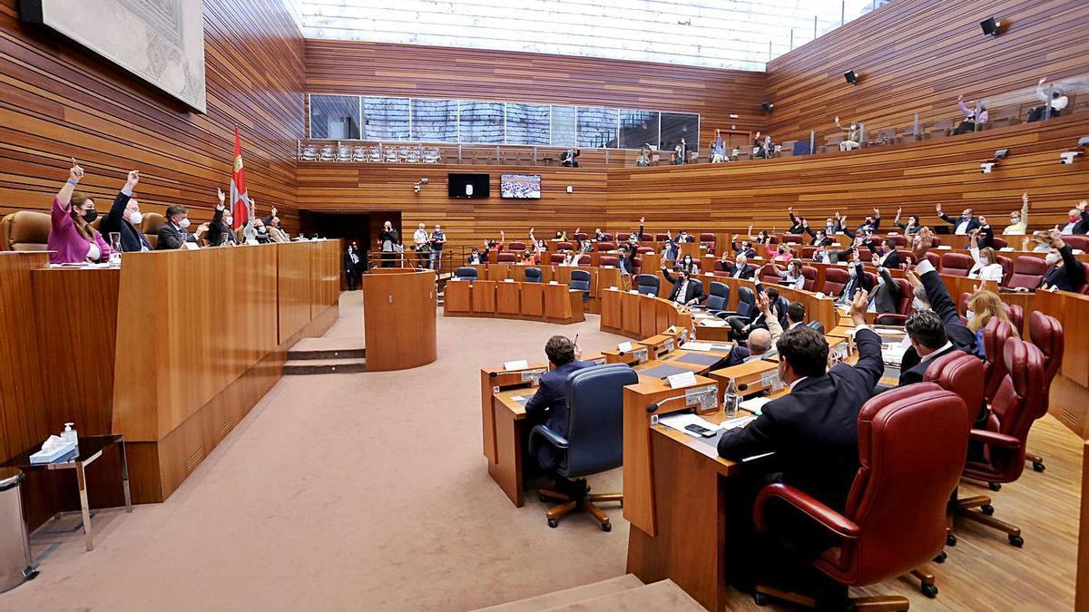 Votación en la segunda sesión del pleno de las Cortes de Castilla y León.