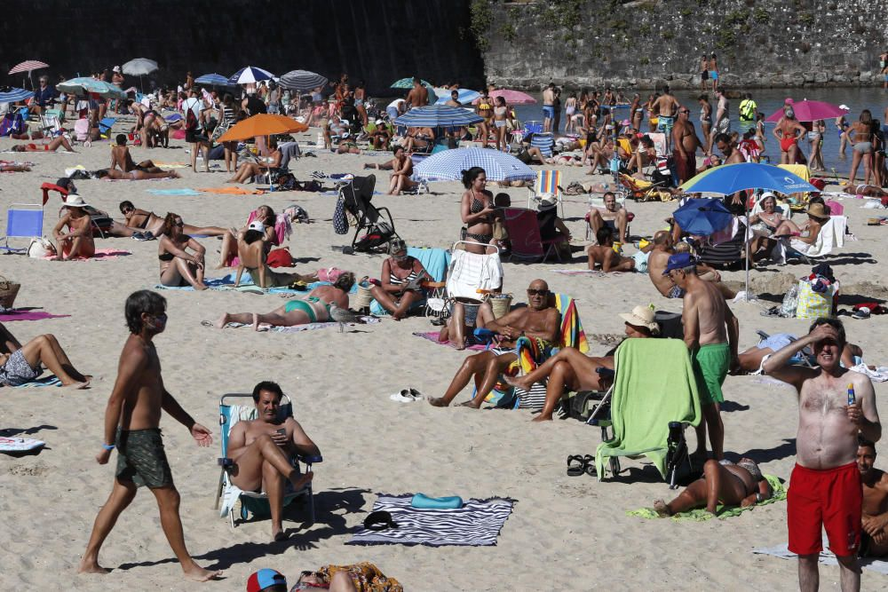 Las playas de Nigrán y Baiona soportan estos días una gran afluencia
