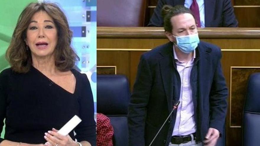 """Ana Rosa carrega contra Iglesias: """"a mi m'elegeixen cada dia i a vostè el va triar Sánchez"""""""