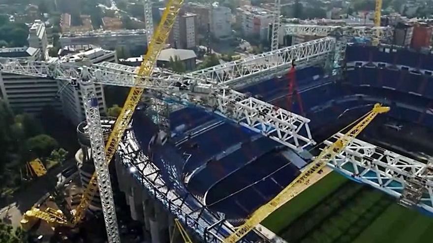Avanza a buen ritmo la construcción de la nueva cubierta del estadio Santiago Bernabéu