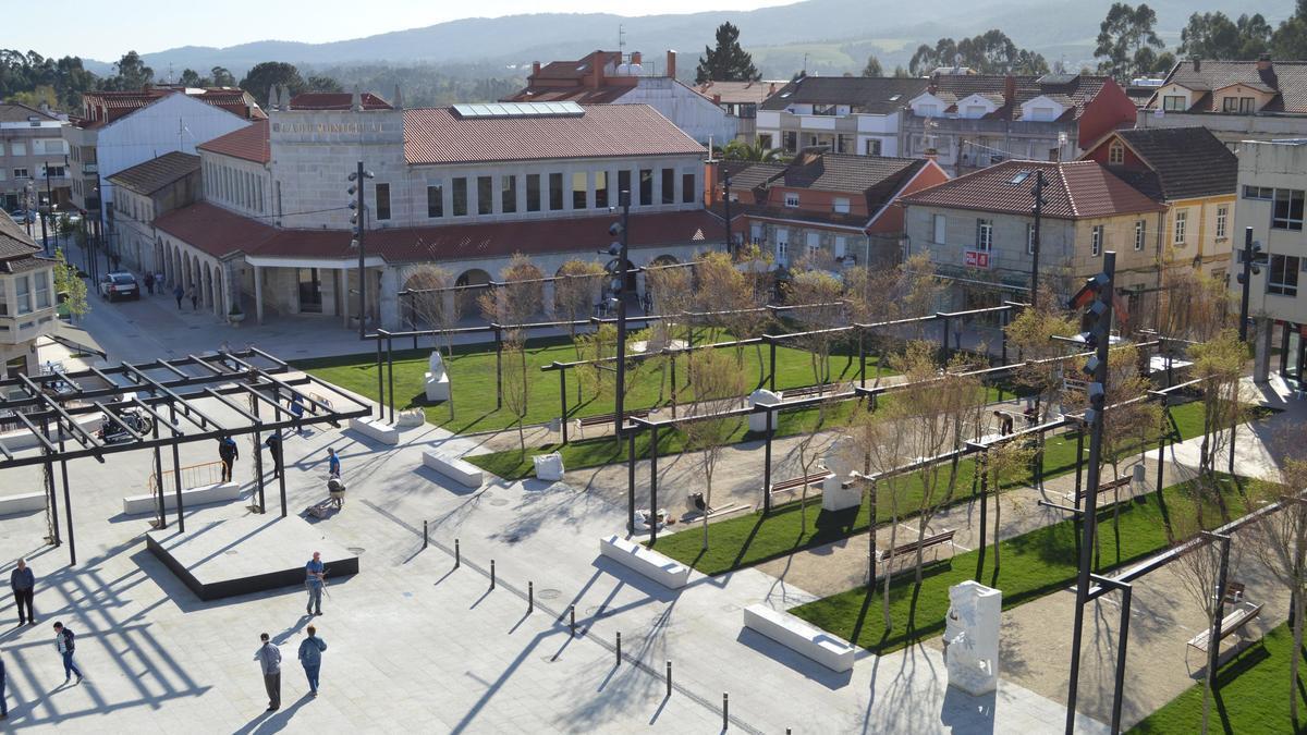 Vista de la Plaza do Seixo, en Tomiño.