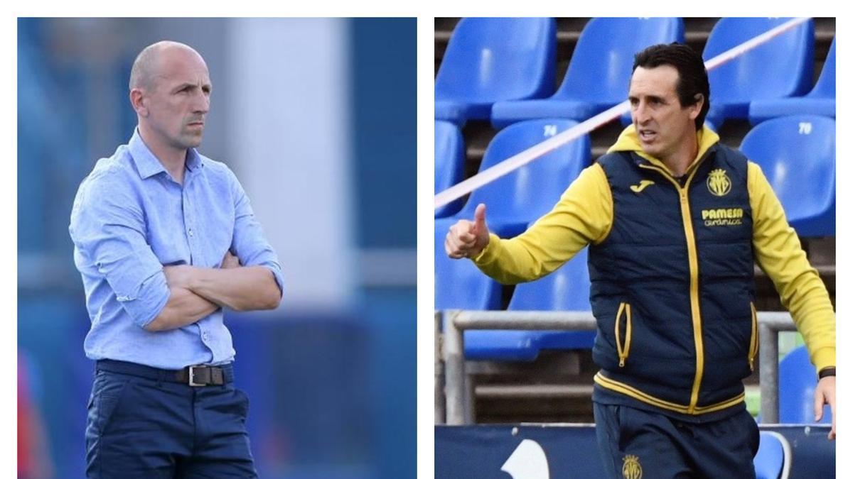 Damir Krznar y Unei Emery, entrenadores de Dinamo Zagreb y Villarreal, respectivamente.
