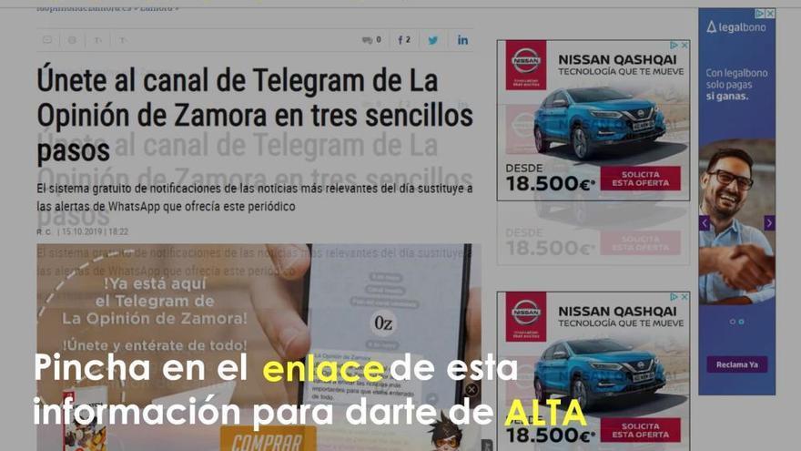 Únete al canal de Telegram de La Opinión de Zamora en tres sencillos pasos