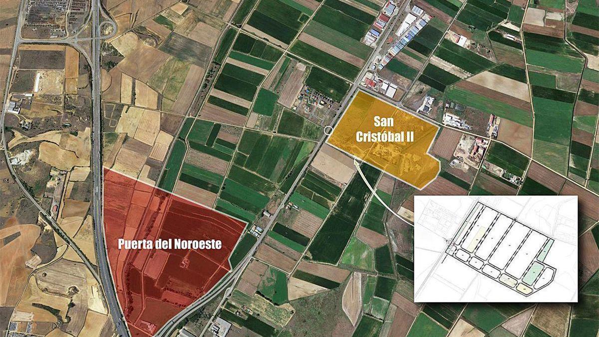 Ubicación del polígono industrial San Cristóbal II y distancia con el Puerta del Noroeste y la A-6.