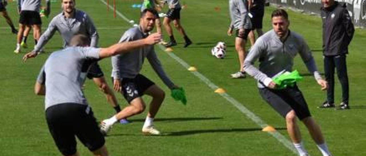 Los jugadores del Castellón, en el entrenamiento de ayer por la tarde en Castalia.