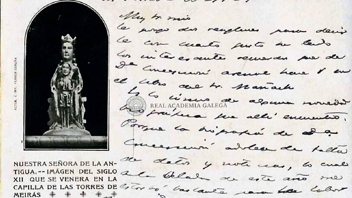 Postal manuscrita de Pardo Bazán, con una imagen de la capilla de las Torres de Meirás.     // RAG