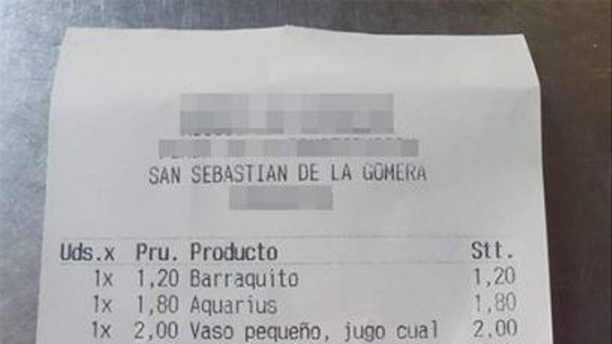 """El 'sablazo' en la cafetería gomera fue """"cobrar dos euros por una loncha de queso"""""""