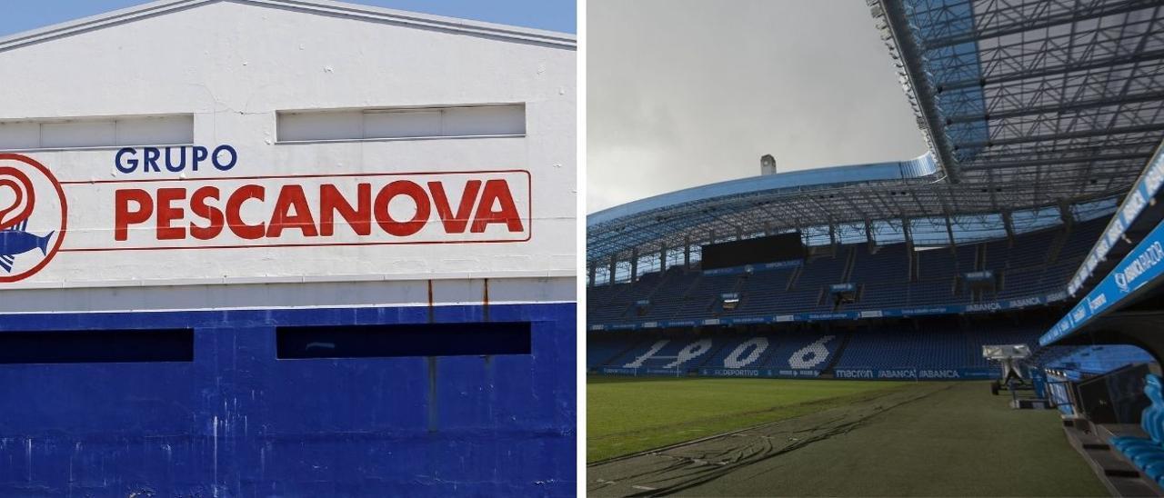 Imágenes de fondo: sede de Nueva Pescanova y estadio de Riazor