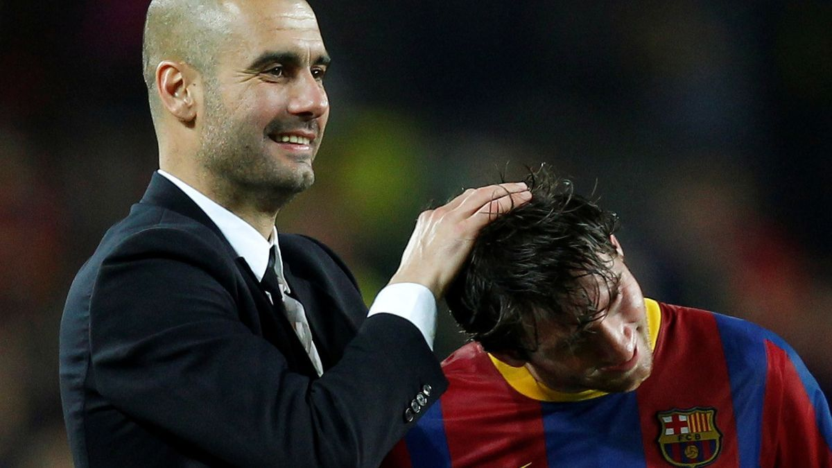 Guardiola, in an image with Messi.