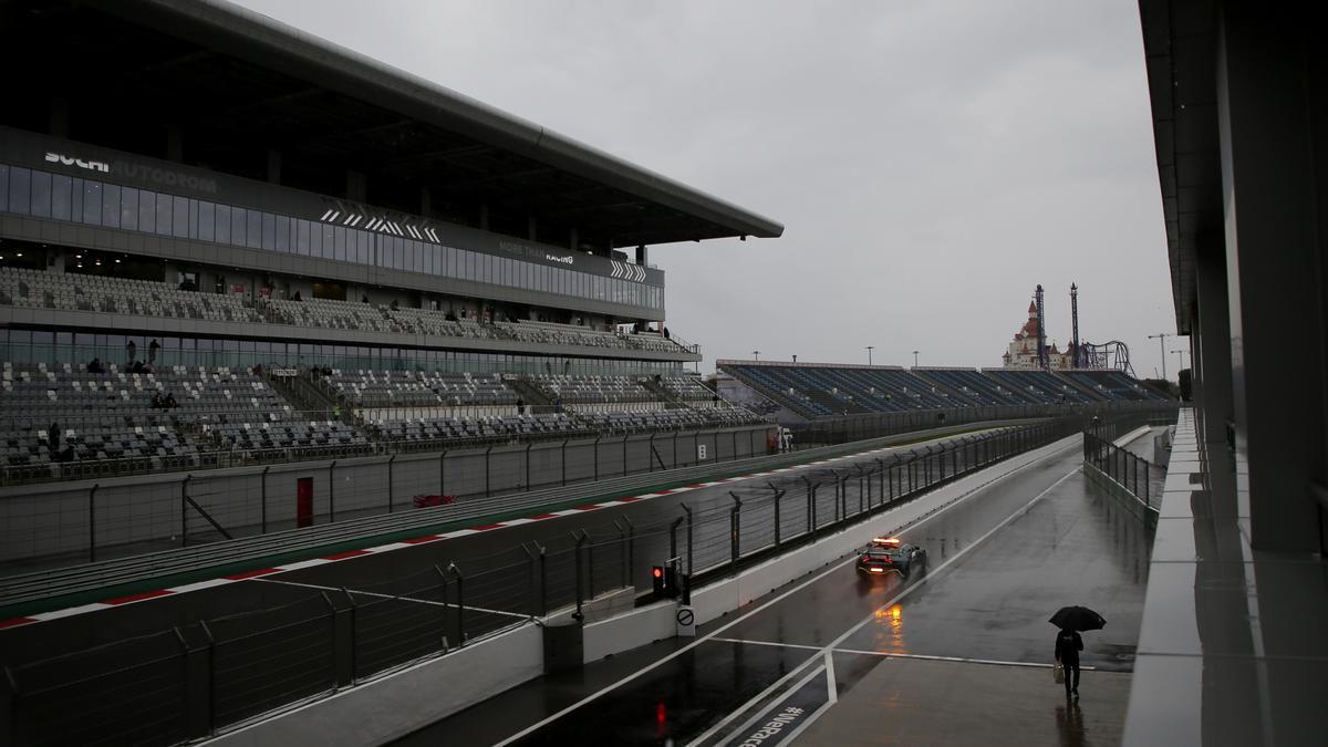Rain over the Sochi circuit.