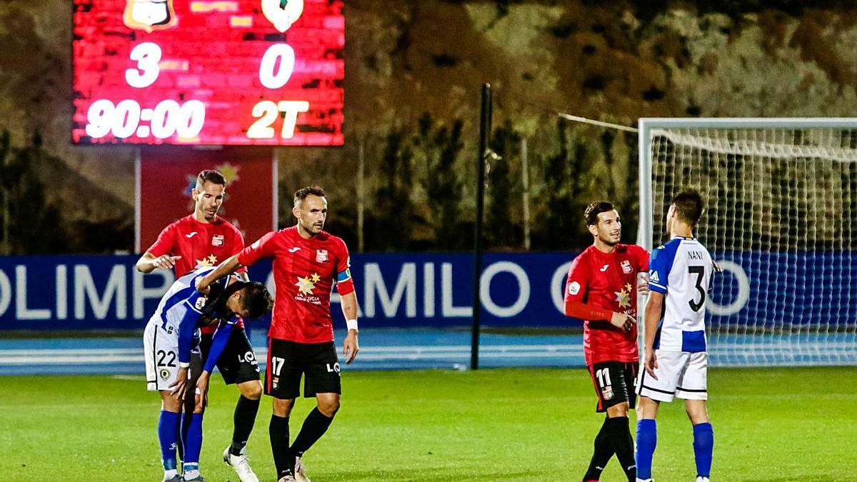 Marcador (3-0) del último partido entre La Nucía y el Hércules el 24 de noviembre de 2019. | JOSE NAVARRO