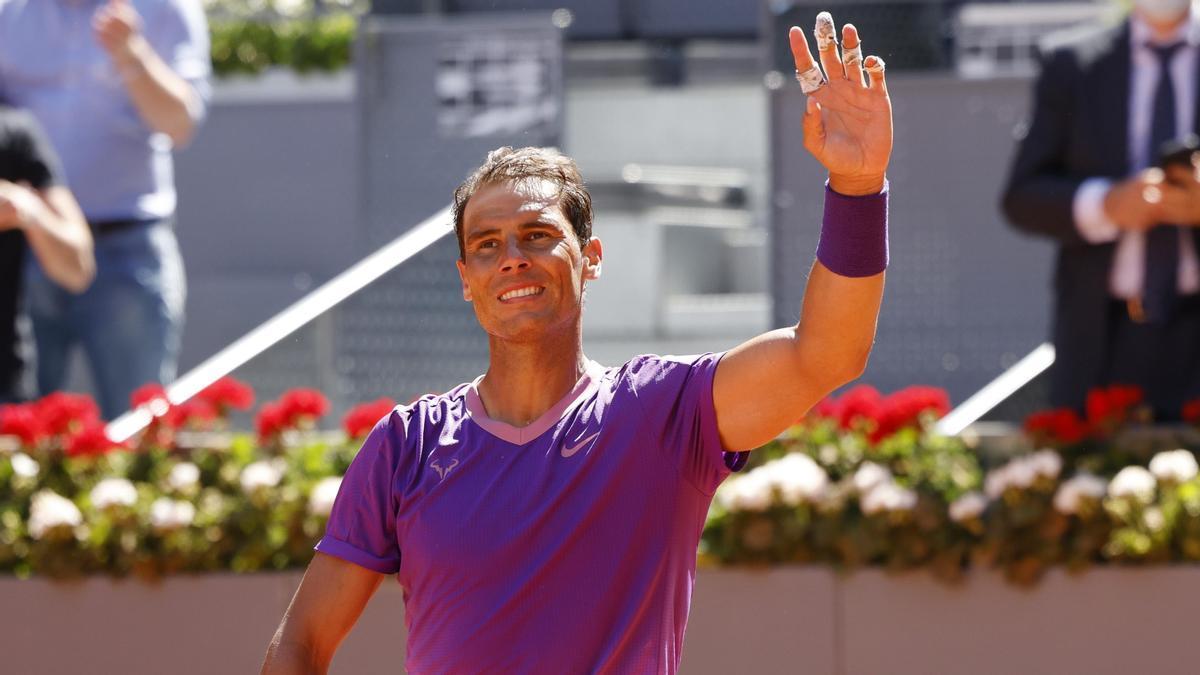 Rafael Nadal celebra su victoria sobre Rafael Nadal