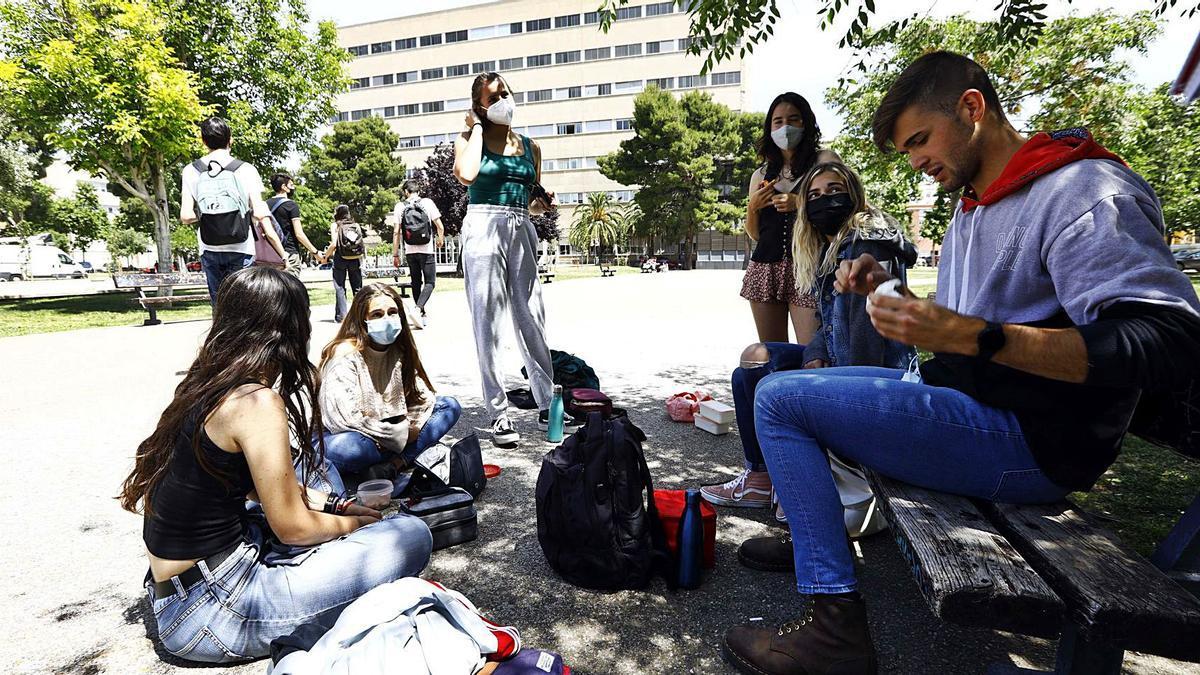 Un grupo de estudiantes come al aire libre junto al estanque central de la 'city', en el campus de San Francisco de la Universidad de Zaragoza.  | JAIME GALINDO