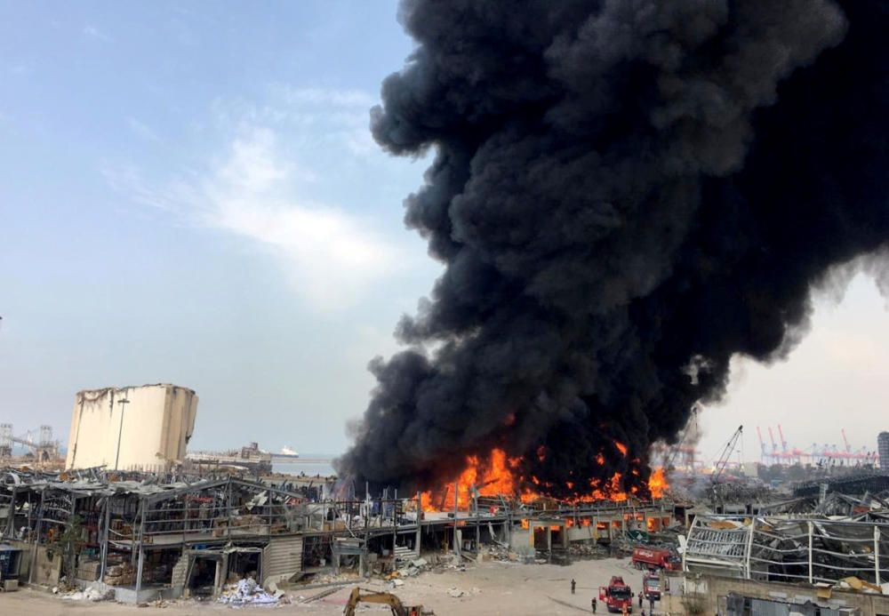 Smoke rises from Beirut's port area