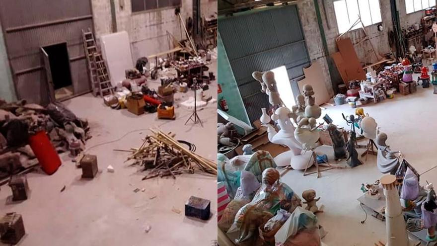 La imagen inaudita de un taller de fallas en abril