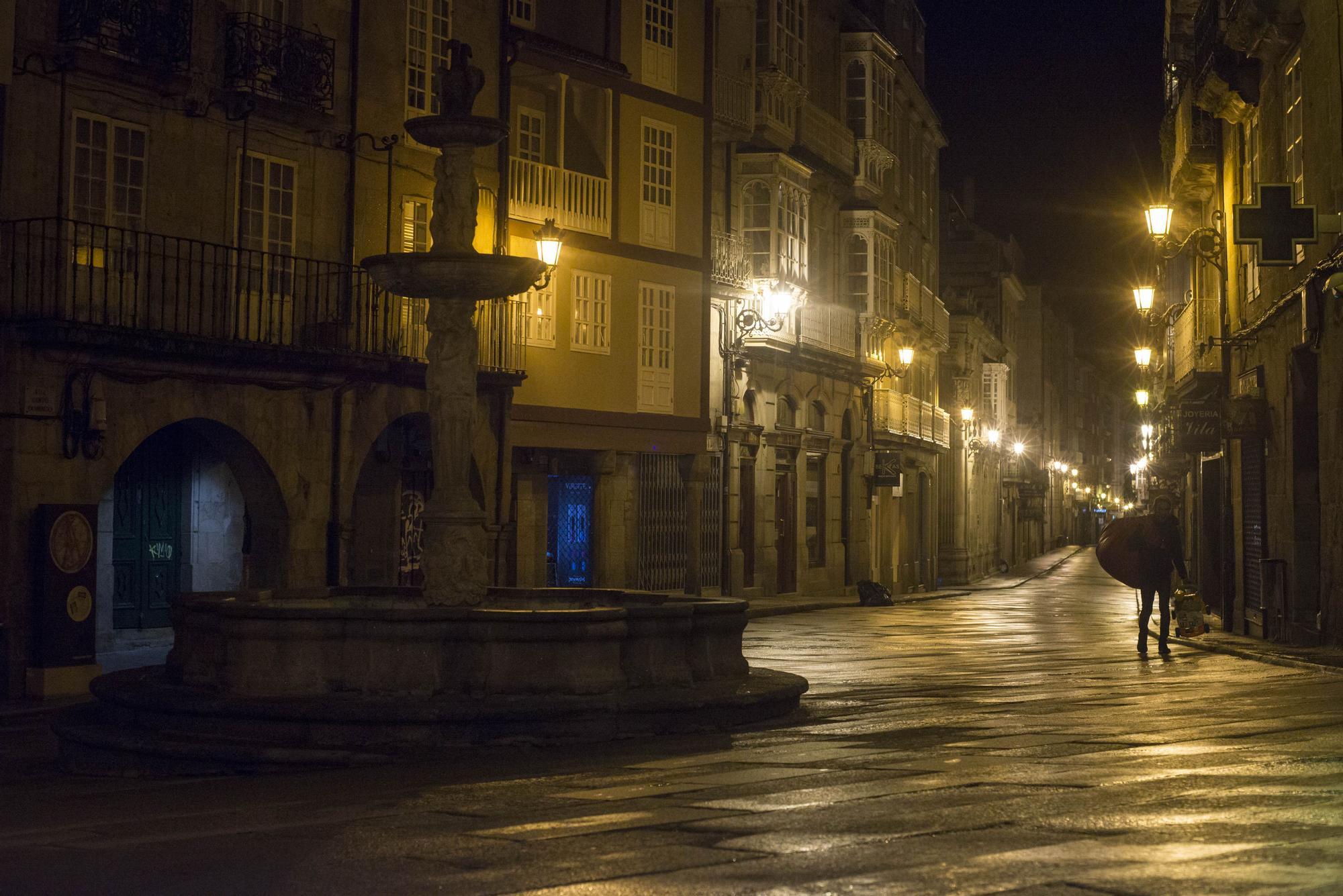 Así estaban las calles de Ourense este lunes.
