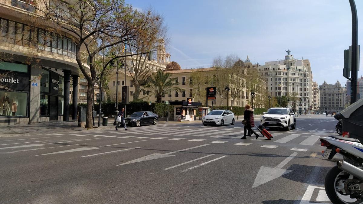 Una calle de Valencia durante el confinamiento general.
