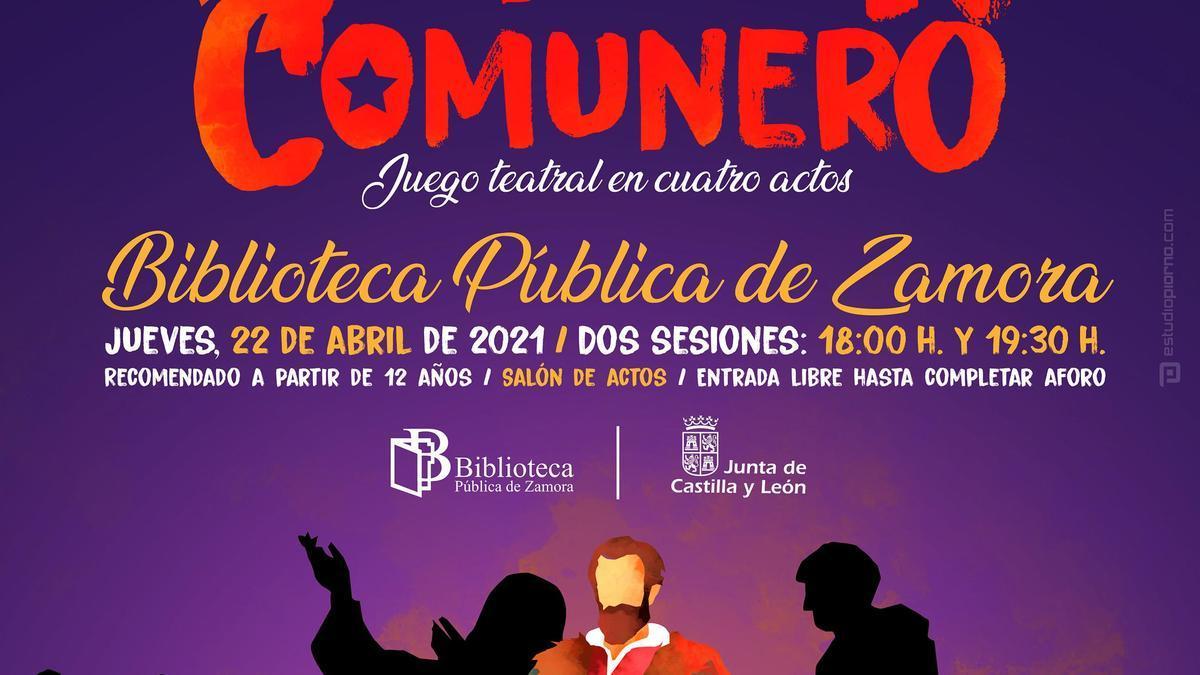 Cartel promocional del Cantar Comunero en la Biblioteca de Zamora.