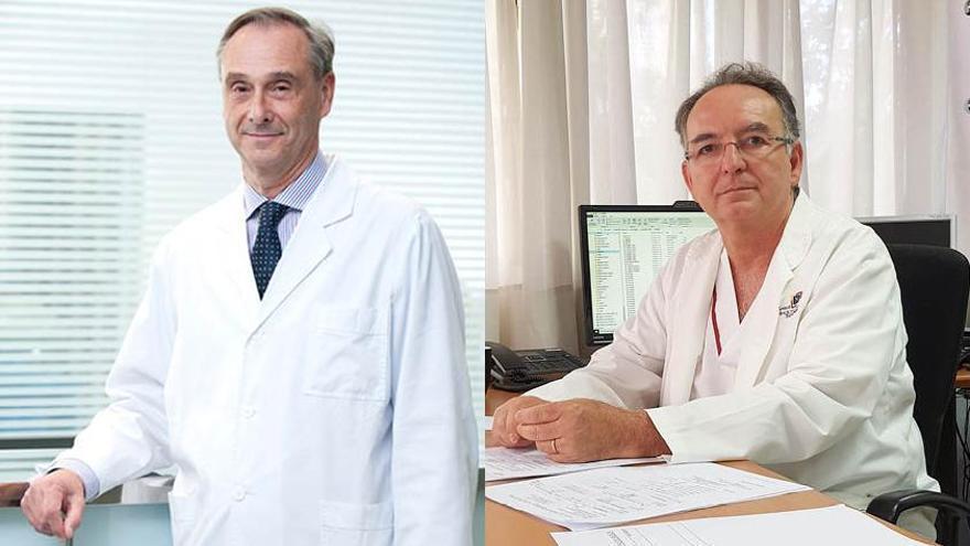 El Dr. Álvaro Merino, jefe de Servicio de Cardiología de Clínica Rotger y Hospital Quirónsalud Palmaplanas, y el Dr. Antoni Gayà, del Banc de Sang i Teixits.  DM