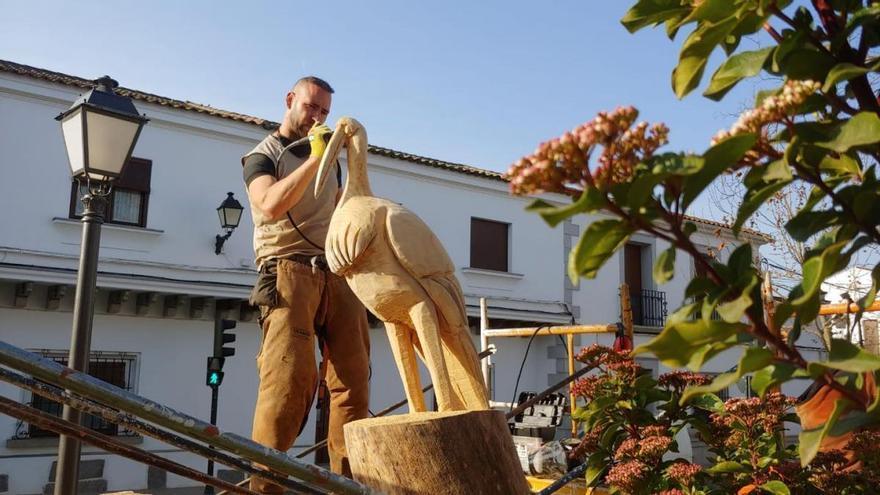 El artista Benito Hidalgo realiza esculturas con los árboles secos de Hinojosa del Duque