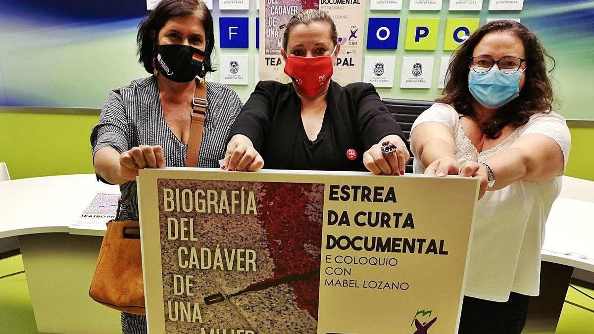 Rosa Campos, Yoya Blanco y Mercedes Renda presentan el cortometraje de Mabel Lozano.