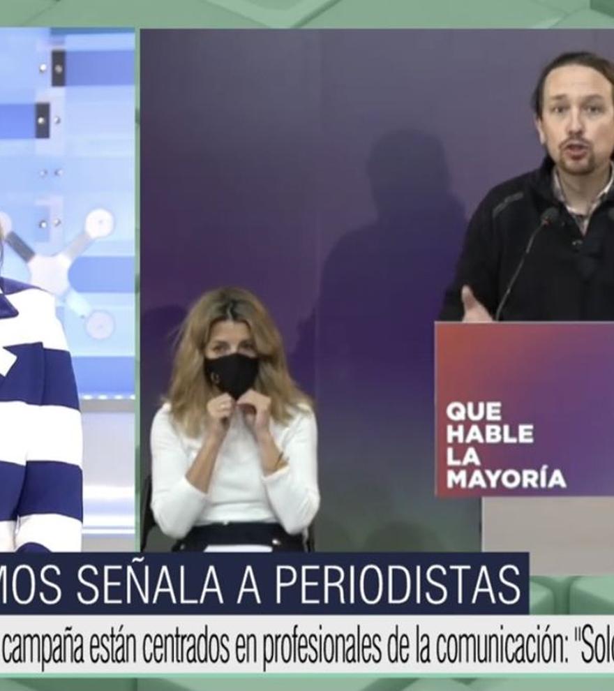 """Ana Rosa se revuelve contra Iglesias por el vídeo de Podemos: """"La persecución a la prensa no se veía desde el franquismo"""""""