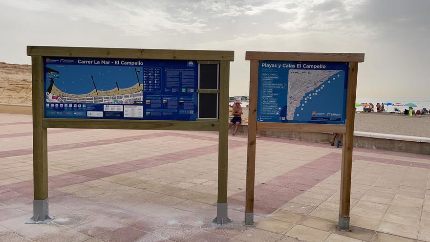 El Campello renueva los carteles de la bandera azul de las playas del Carrer La Mar y Muchavista