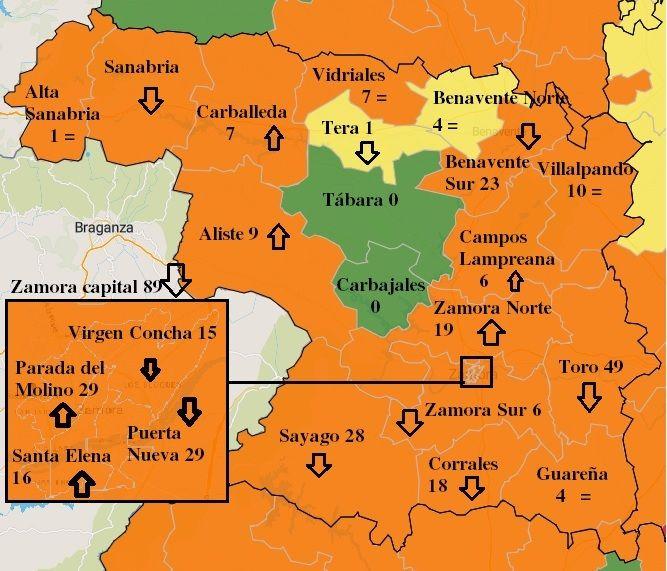 Mapa de contagios COVID en la última semana por zonas básicas de salud