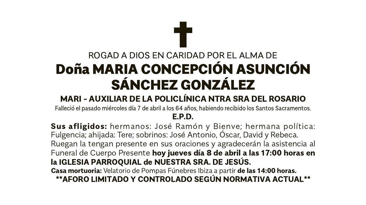 Esquela Maria Concepción Asunción Sánchez González
