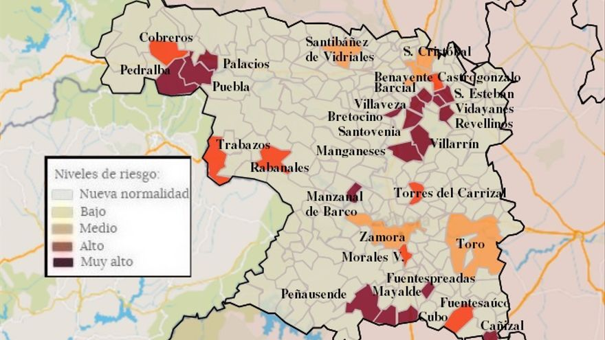 Mapa de coronavirus de Zamora, hoy, miércoles |  Morales, Fuentesaúco y Puebla, únicas grandes localidades que superan los 150 casos