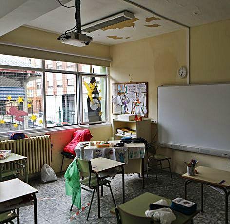 Una de las aulas afectadas.