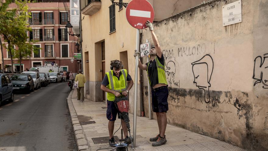 El cambio por sorpresa de la circulación en Socors inicia las obras del itinerario peatonal de El Temple y Sant Francesc