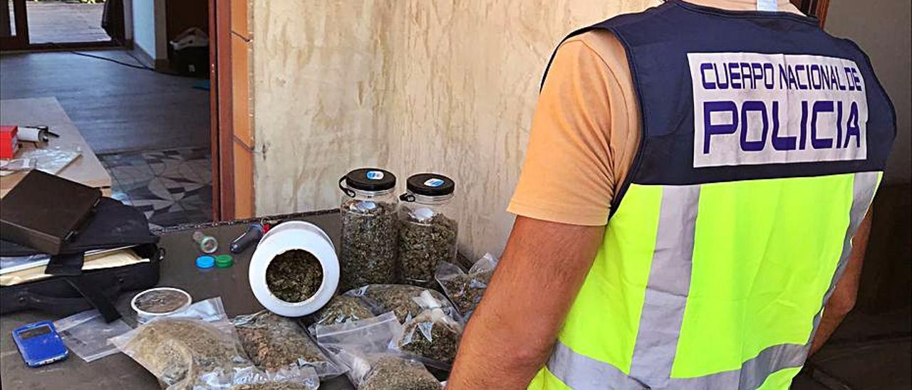 La droga incautada, en la vivienda de Marenys de Rafalcaid de Gandia.