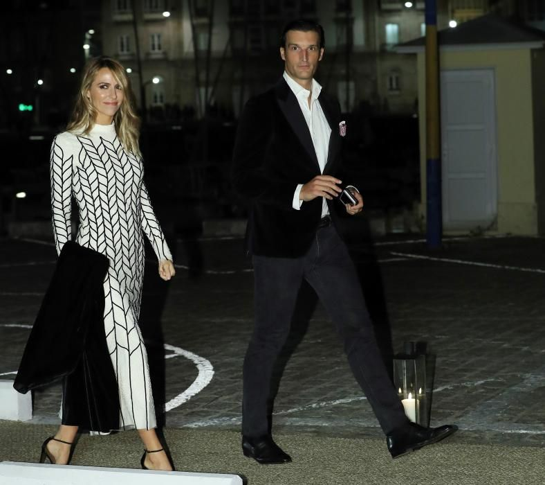 Rafael Medina y Laura Vecino a su llegada al Real Club Náutico de A Coruña.