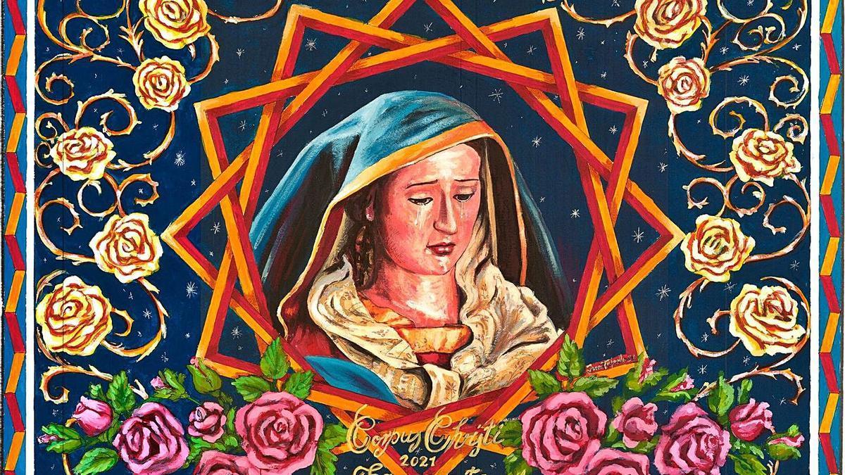 El boceto de la alfombra del Corpus de Tacoronte de 2021, obra de Juan Fajardo Hernández.