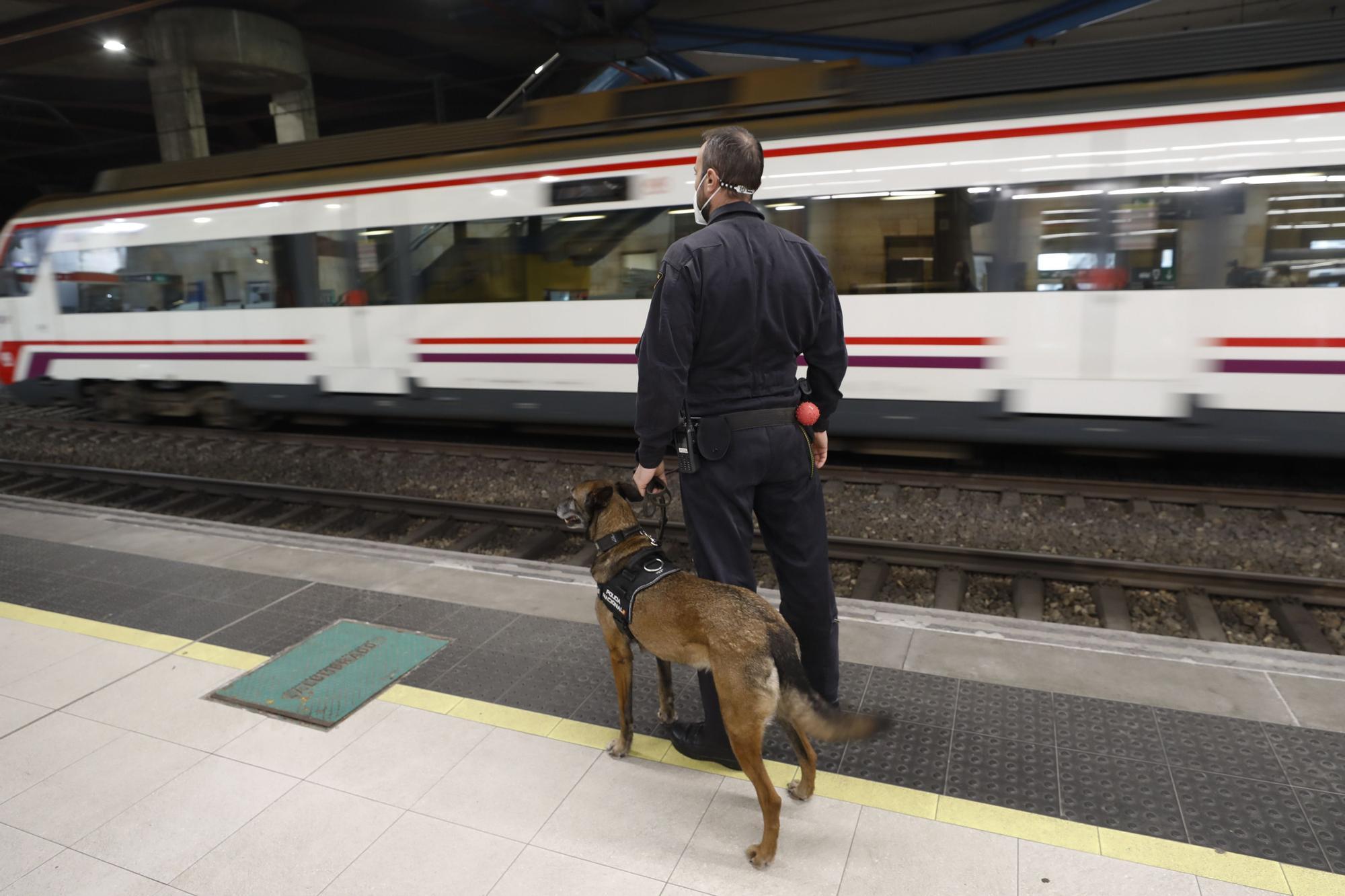 Controles policiales en la estación de Oviedo como antesala a la Semana Santa