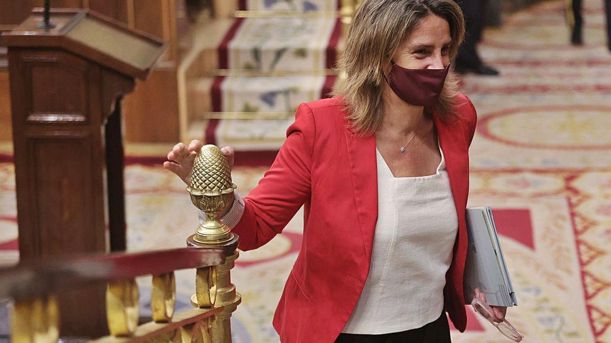 La Ministra para la Transición Ecológica, Teresa Ribera, ayer, en el Congreso.   EUROPA PRESS/E. PARRA
