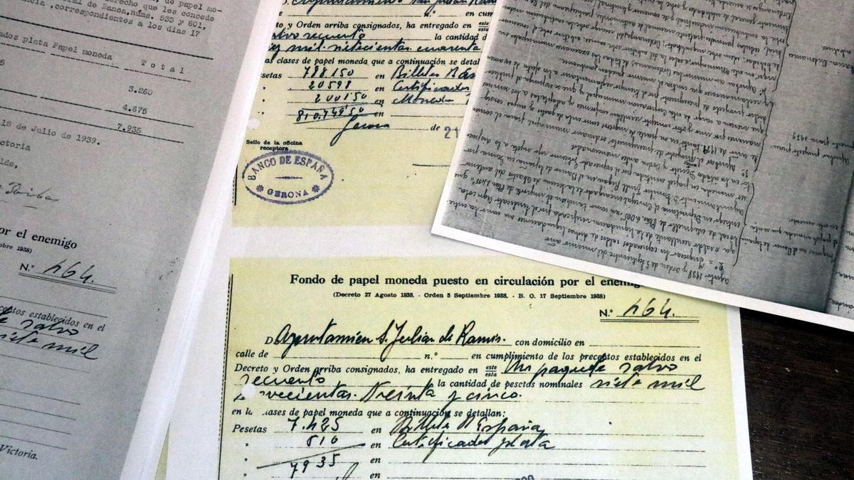 Els documents que justifiquen els diners republicans que Sant Julià de Ramis va entregar i no van tornar