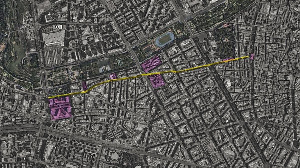 El nuevo eje conectará los barrios del Carmen, el Botánico, la Petxina y Nou Moles.  | LEVANTE-EMV