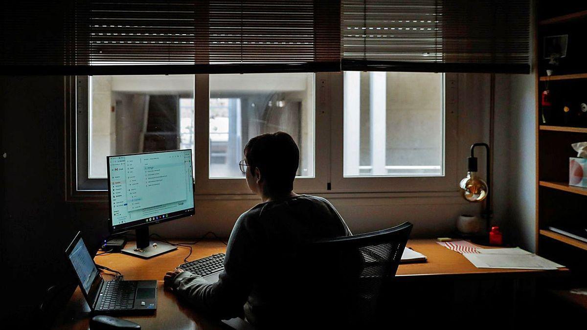 Una mujer trabaja en su ordenador desde casa