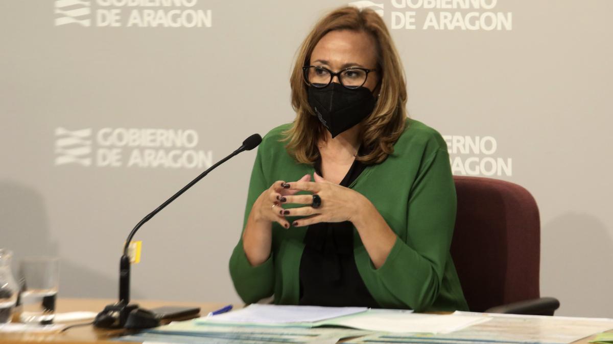 """La consejera de Presidencia durante la rueda de prensa de la presentación de la campaña """"Montaña Segura"""""""
