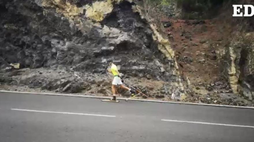 Lo último en las carreteras tinerfeñas: llega el esquí sobre ruedas a Tenerife