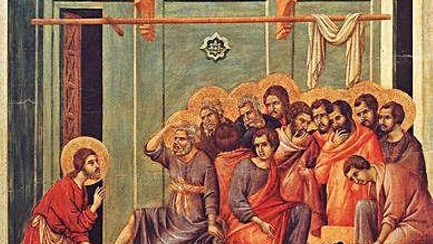 El Lavatorio, Duccio, (Maestá del Museo dell' Opera del Duomo de Siena, 1308-1311)