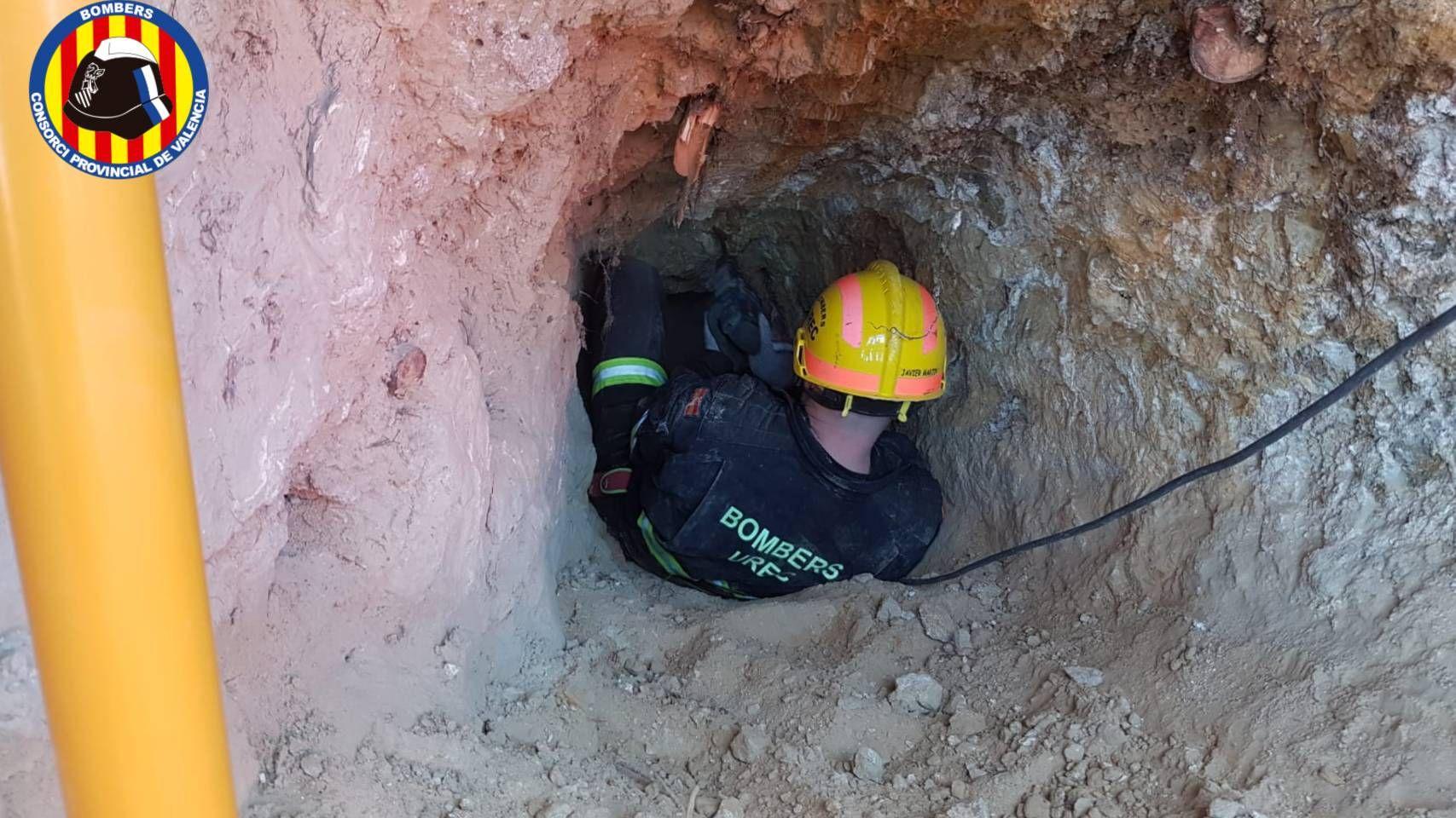 Los bomberos cavan un túnel para rescatar a una perrita atrapada durante horas en una madriguera