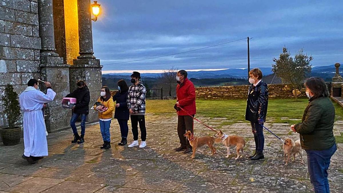Las mascotas recibieron la bendición al finalizar la misa vespertina.