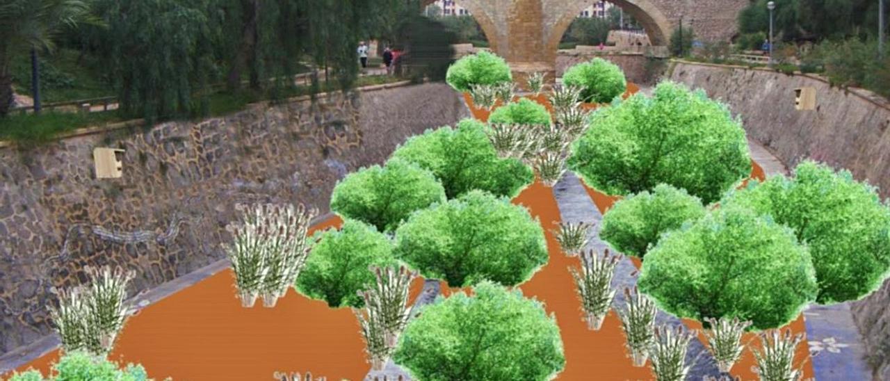Una simulación de cómo quedaría un tramo del río con repoblación vegetal.