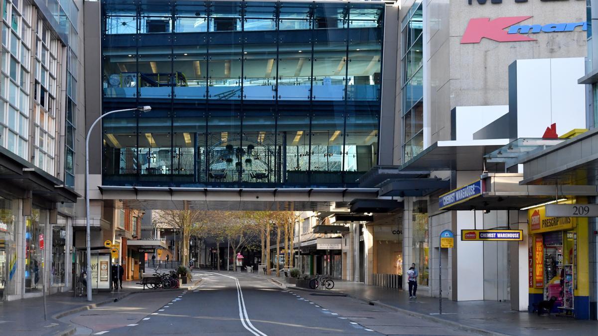 Calles desiertas en Sidney por las restricciones debidas a la covid.