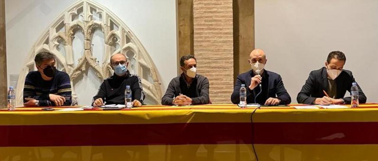 Los cuatro alcaldes de la Valldigna, en la mesa redonda del pasado mes de marzo. | LEVANTE-EMV