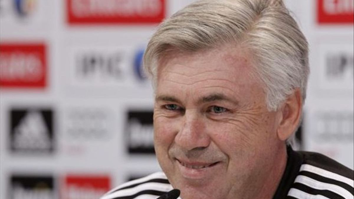Carlo Ancelotti, during a press conference during his first stage at Real Madrid